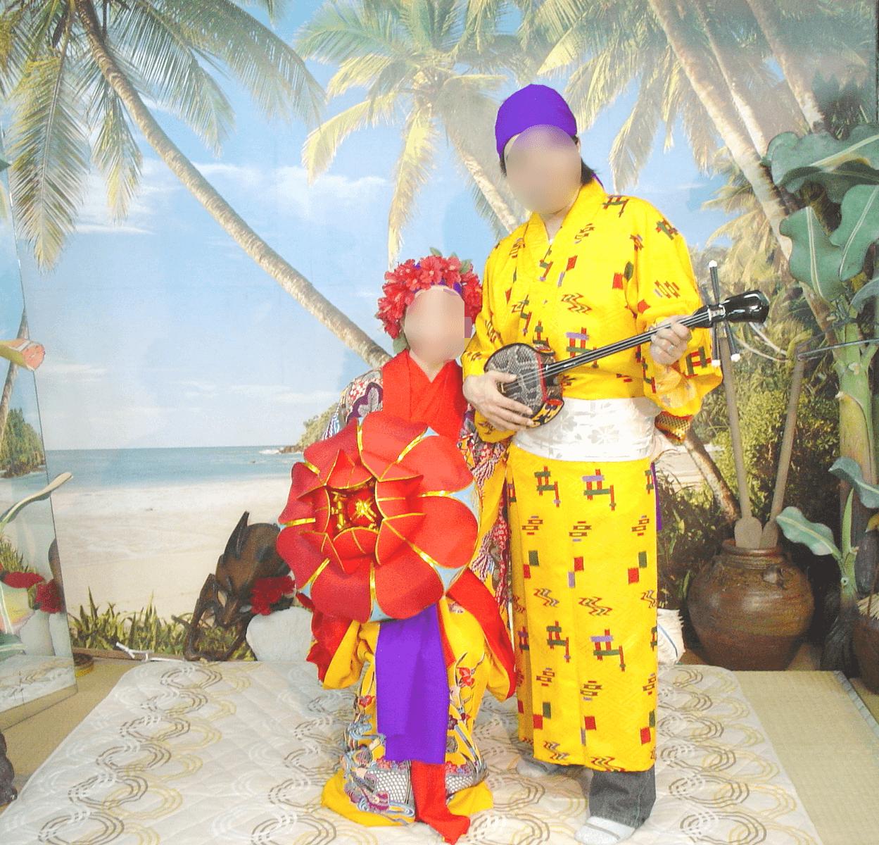 夫と二人で琉球(沖縄)の伝統衣装を着てみた!!