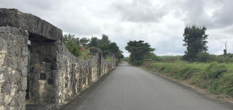 道路の左側が宮古島博物館、右側は原っぱ